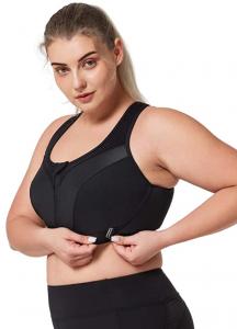 front opening full figure sports bra