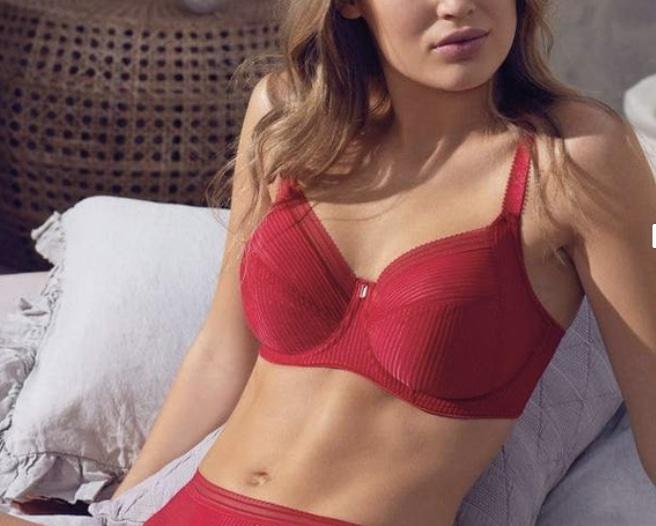 red bra under white tee shirt